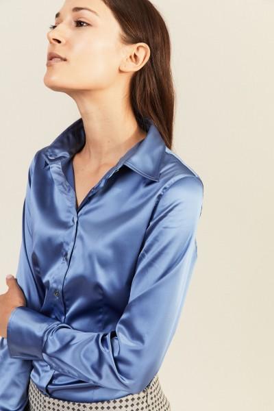 Bluse 'Jonies 120' mit leichtem Glanz Taubenblau