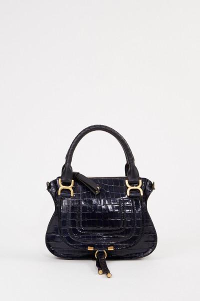 Chloé Handtasche 'Marcie Small' in Croco-Optik Full Blue