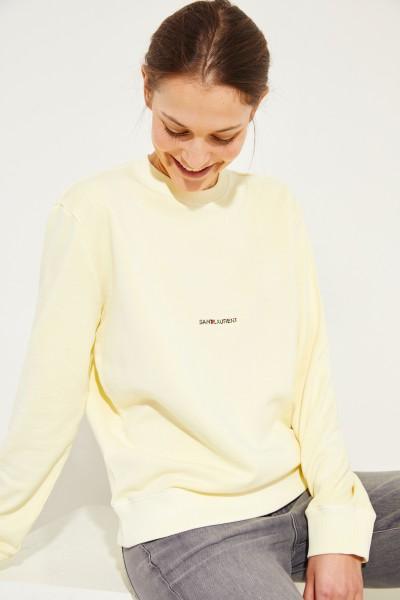 Sweatshirt mit frontalem Schriftzug Gelb