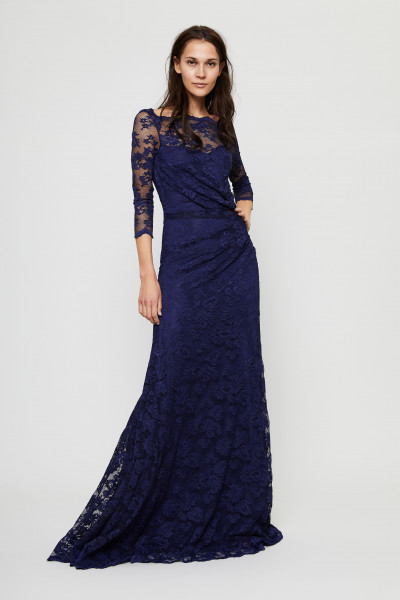 Langes Lace-Kleid Marineblau