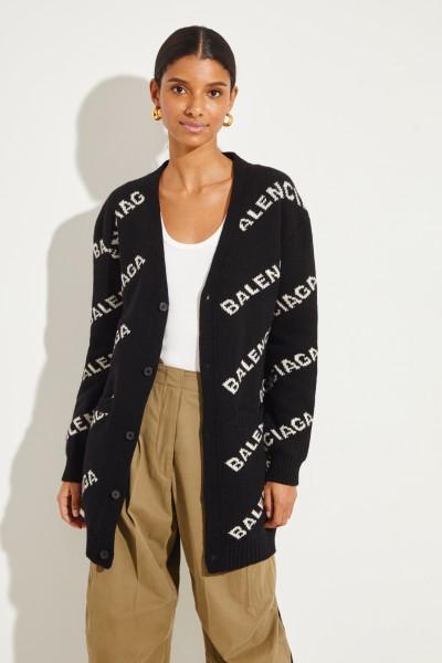 Langer Woll-Cardigan mit Logo Schwarz