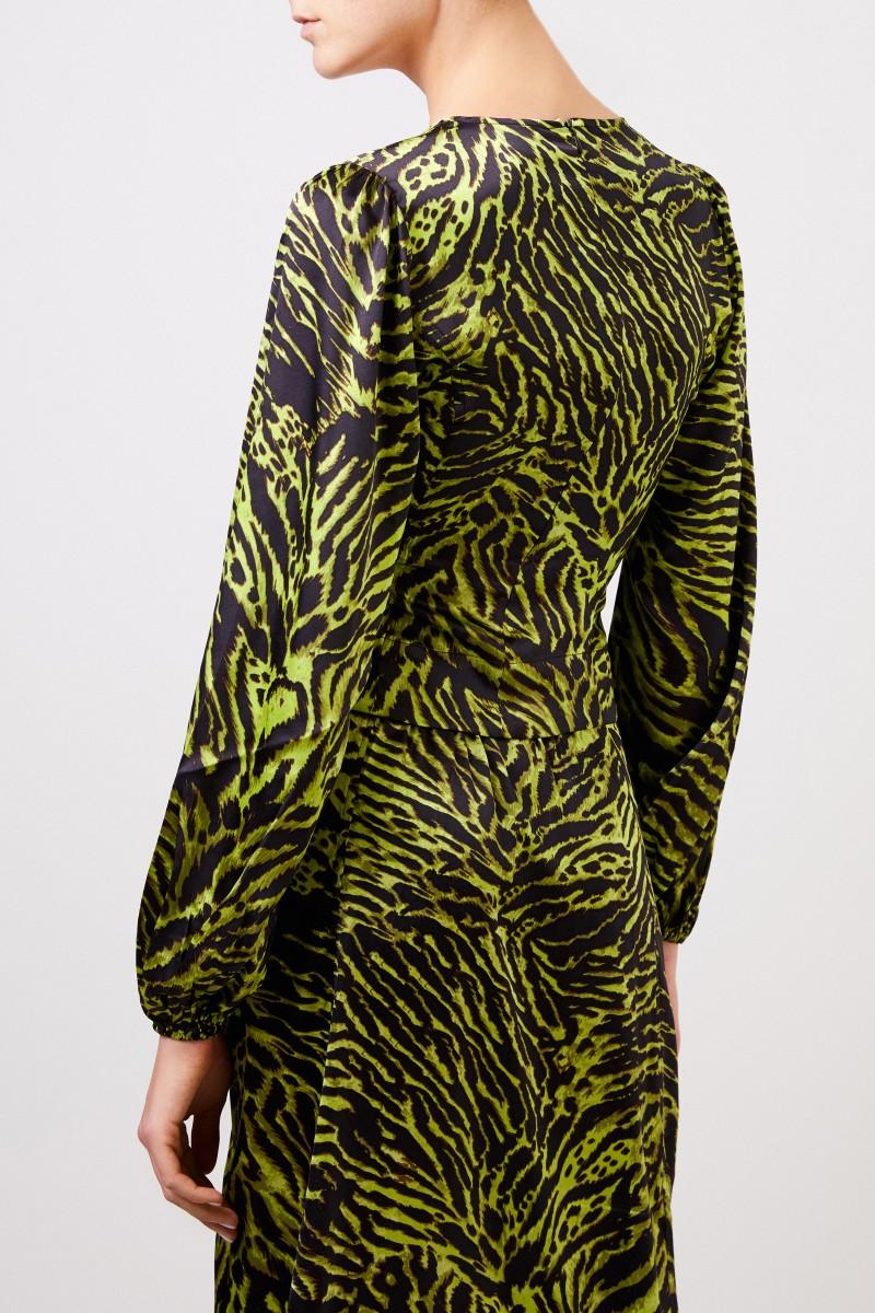 Seiden-Bluse mit Tiger-print Grün/Schwarz