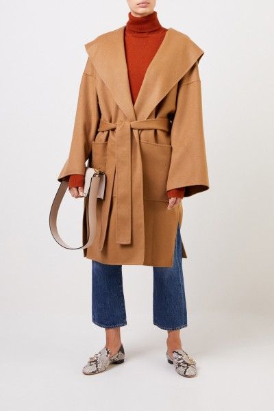 Wool Cashmere Coat with Hood Brown