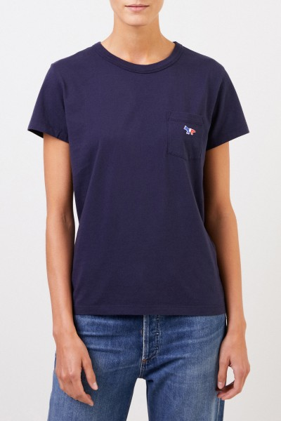 Maison Kitsuné T-Shirt 'Tricolor Fox Patch' with breast pocket Navy Blue