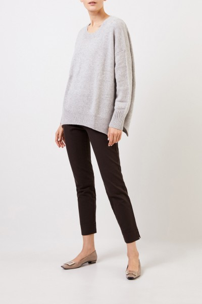 Cotton stretch pants 'Sabrina' with slit detail Brown
