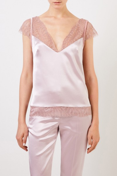 Talbot Runhof Top with lace details Light Pink