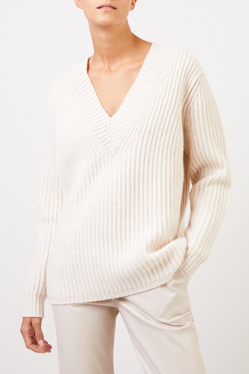 Acne Studios Woll-Pullover mit V-Neck Crème