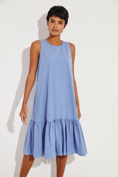 Baumwoll-Kleid 'Karen' mit Volant Blau