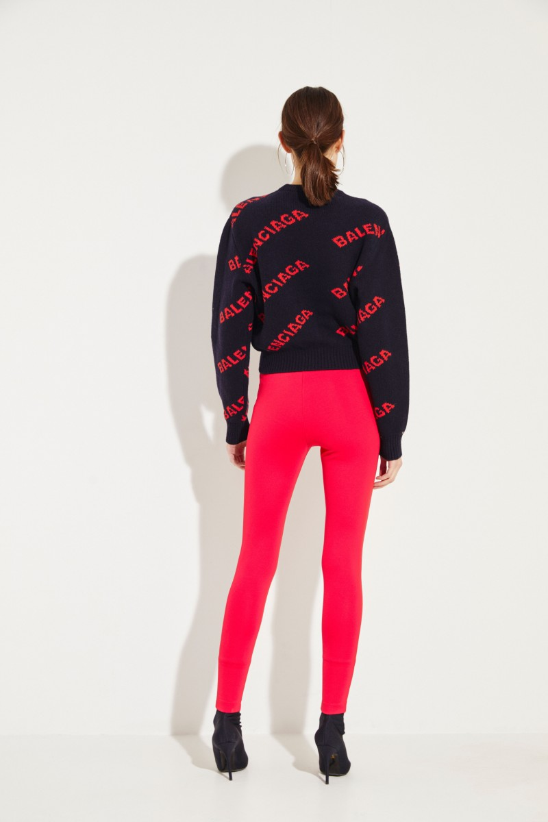 Cropped Wollpullover Schwarz/Rot