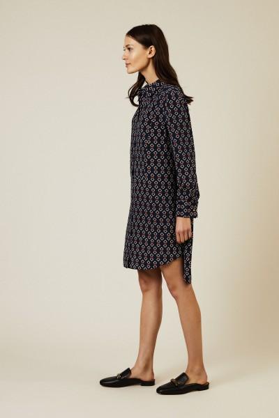 Seiden-Hemdblusenkleid 'Michelle' Blau/Multi