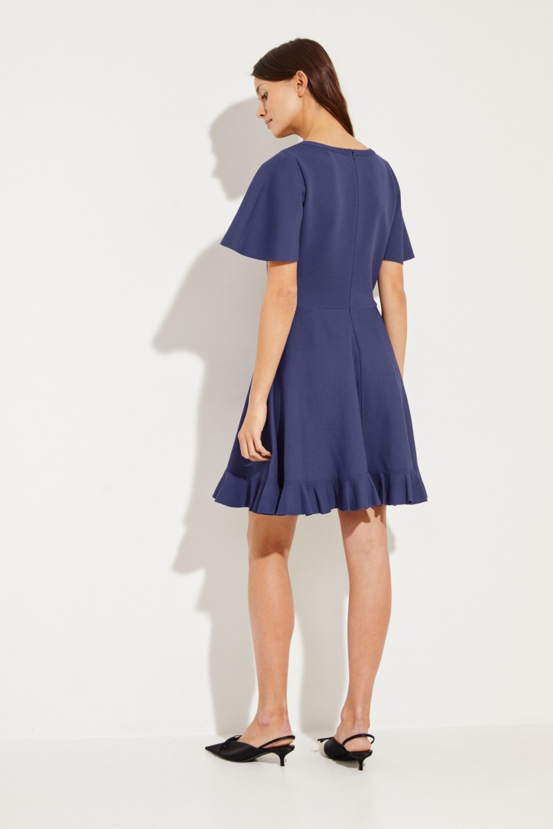 Knitted dress with lace Blue