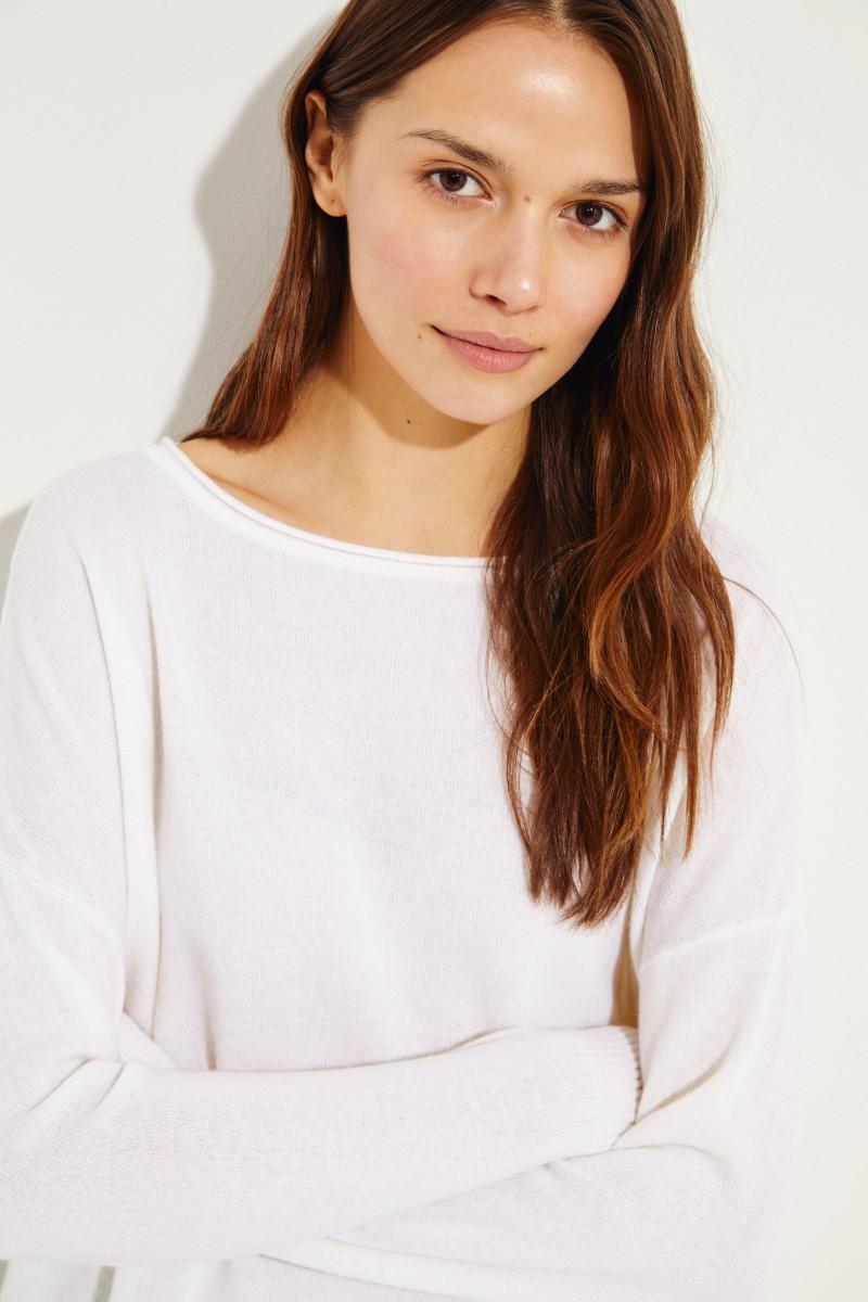 Cashmere-Pullover mit O-Neck Crèmeweiß