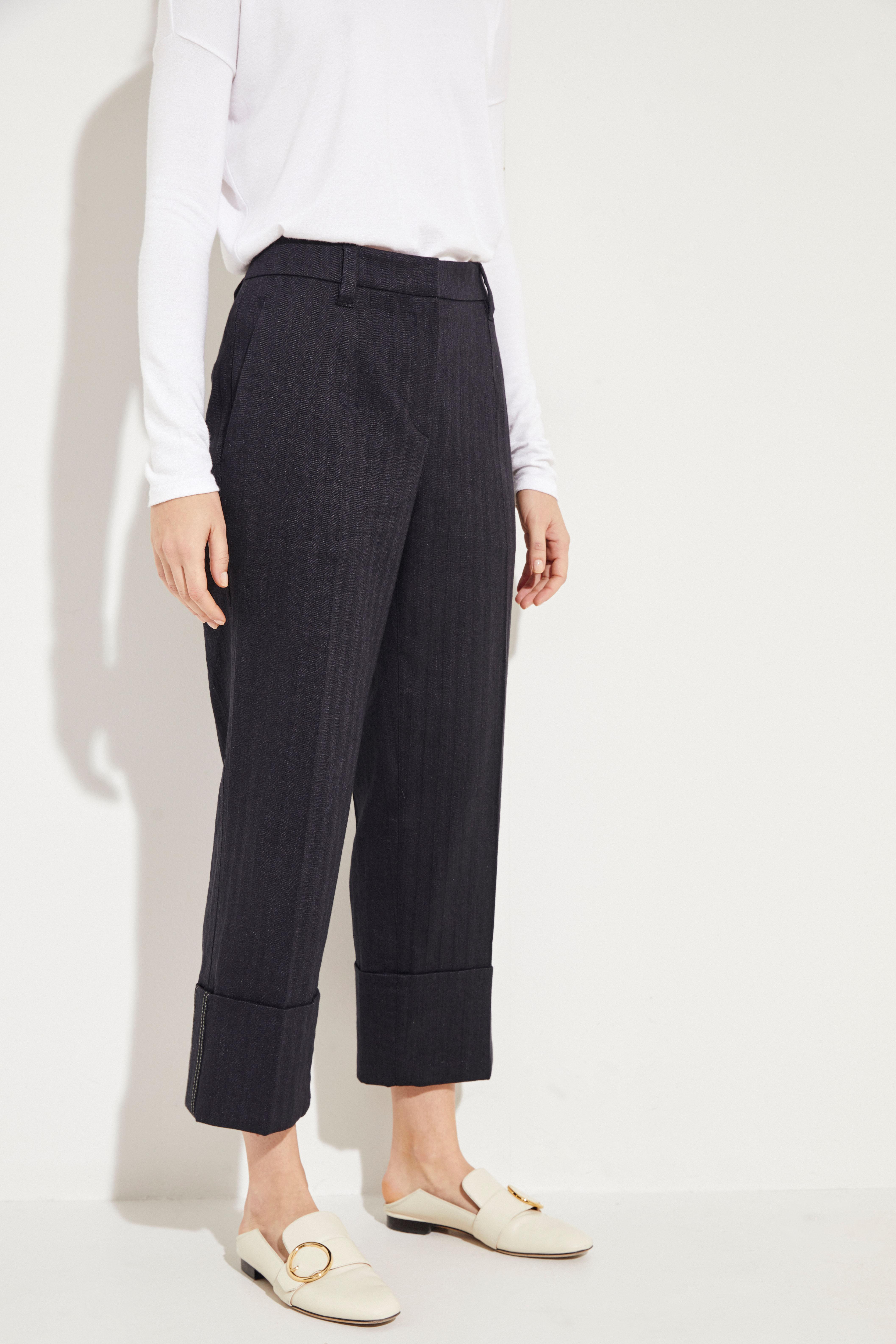 4fe731228d7e Cotton-Linen-Pants with Hem Envelope Black