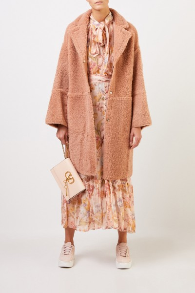 Yves Salomon Reversible lambskin coat Terracotta