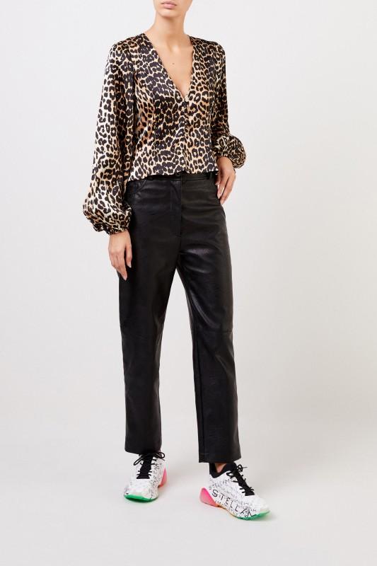 Stella McCartney Leatherette-Pants 'Hailey' Black