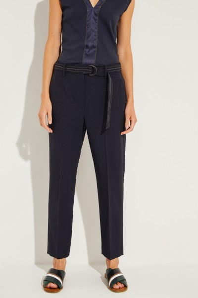 Brunello Cucinelli Wool pants with belt Navy Blue
