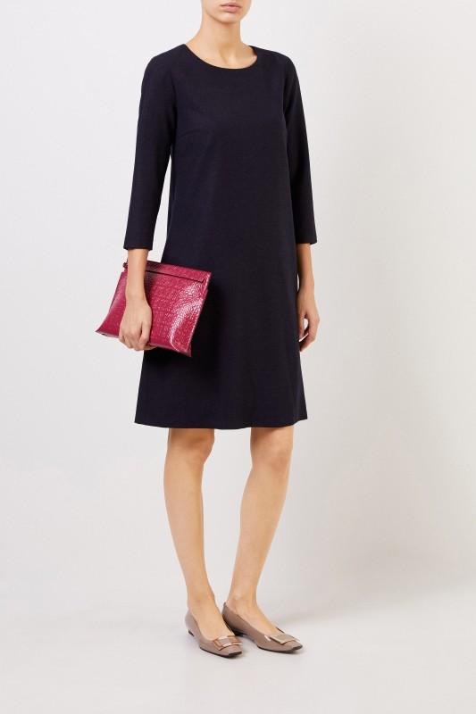 Cappellini Klassisches Woll-Kleid Blau
