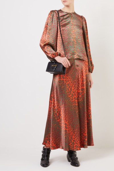 Long skirt with leoprint Orange/Green