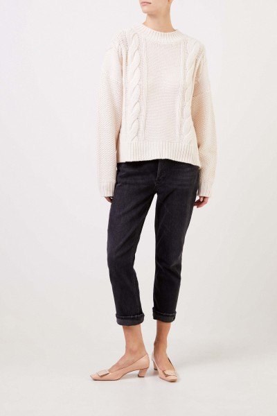 Uzwei Wool cashmere pullover with cable stitch White