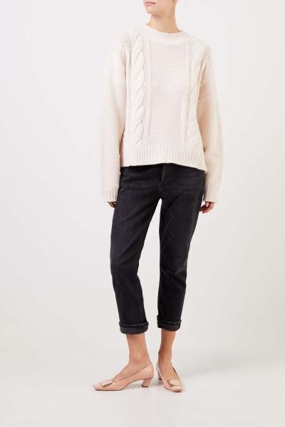 UZWEI Woll-Cashmere-Pullover mit Zopfmuster Weiß