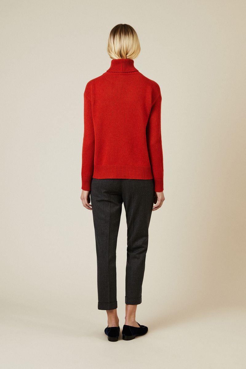 Cashmere-Woll-Rollkragenpullover Rot