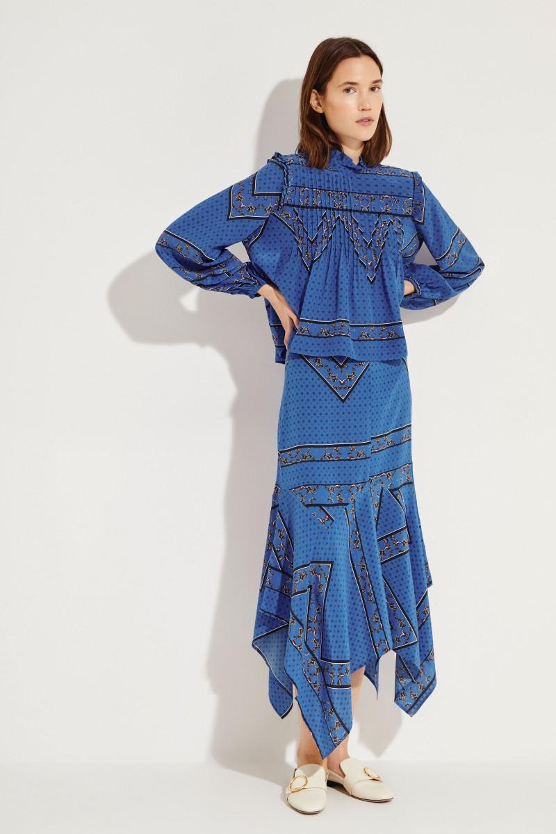 Seiden-Bluse mit Print Blau/Multi