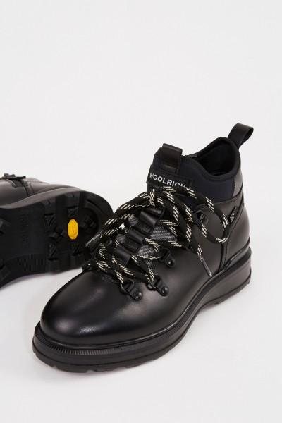 Woolrich Leder-Boots Schwarz