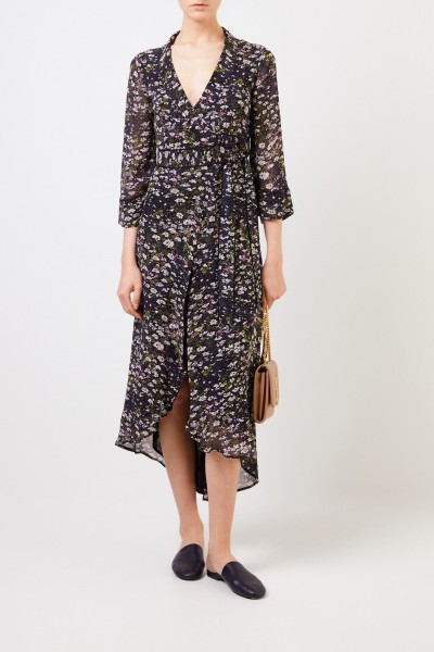 Ganni Wrap Dress 'Printed Georgette' Black