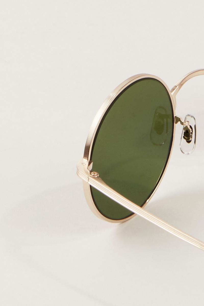 Runde Sonnenbrille 'After Midnight' in Hornoptik Gold/Grün