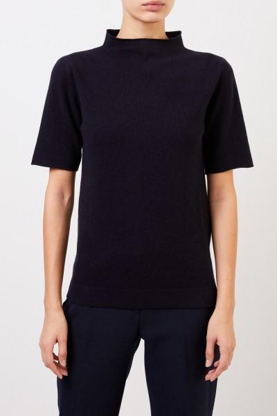 Fabiana Filippi Short sleeve wool silk pullover Navy Blue