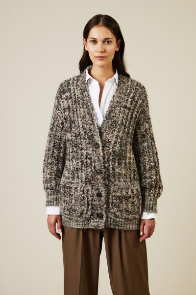 Mohair-Cashmere-Cardigan mit Paillettendetails Grau