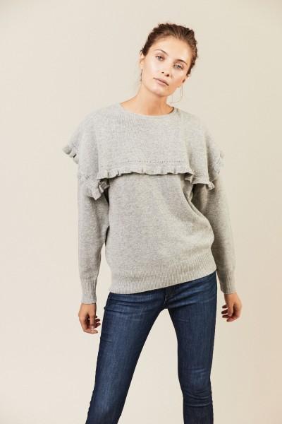 Pullover mit Rüschen Grau