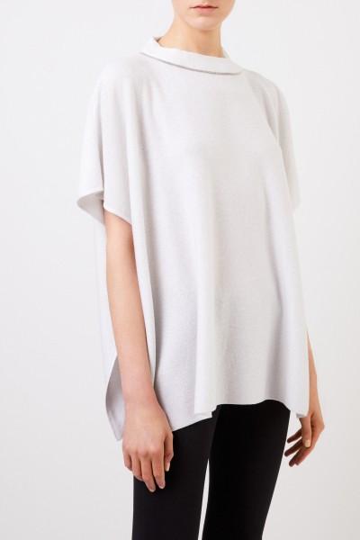 Fabiana Filippi Cashmere-Poncho mit Lurexdetails Weiß