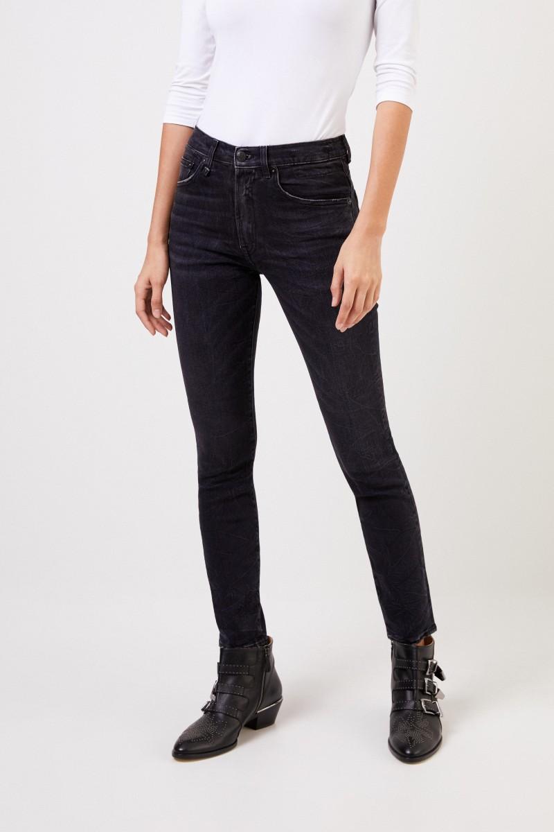 Neuestes Design Weltweit Versandkostenfrei Neuankömmling Highrise skinny jeans with wash Black