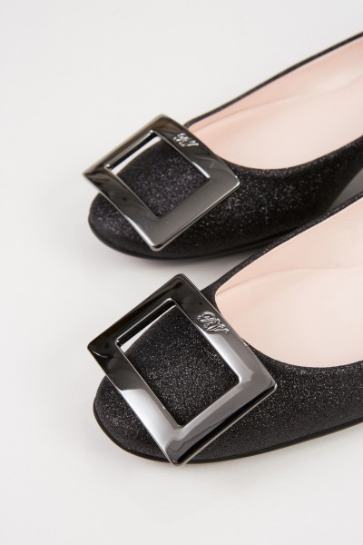 Roger Vivier Flats 'Gommette' with Glitter Leather Black
