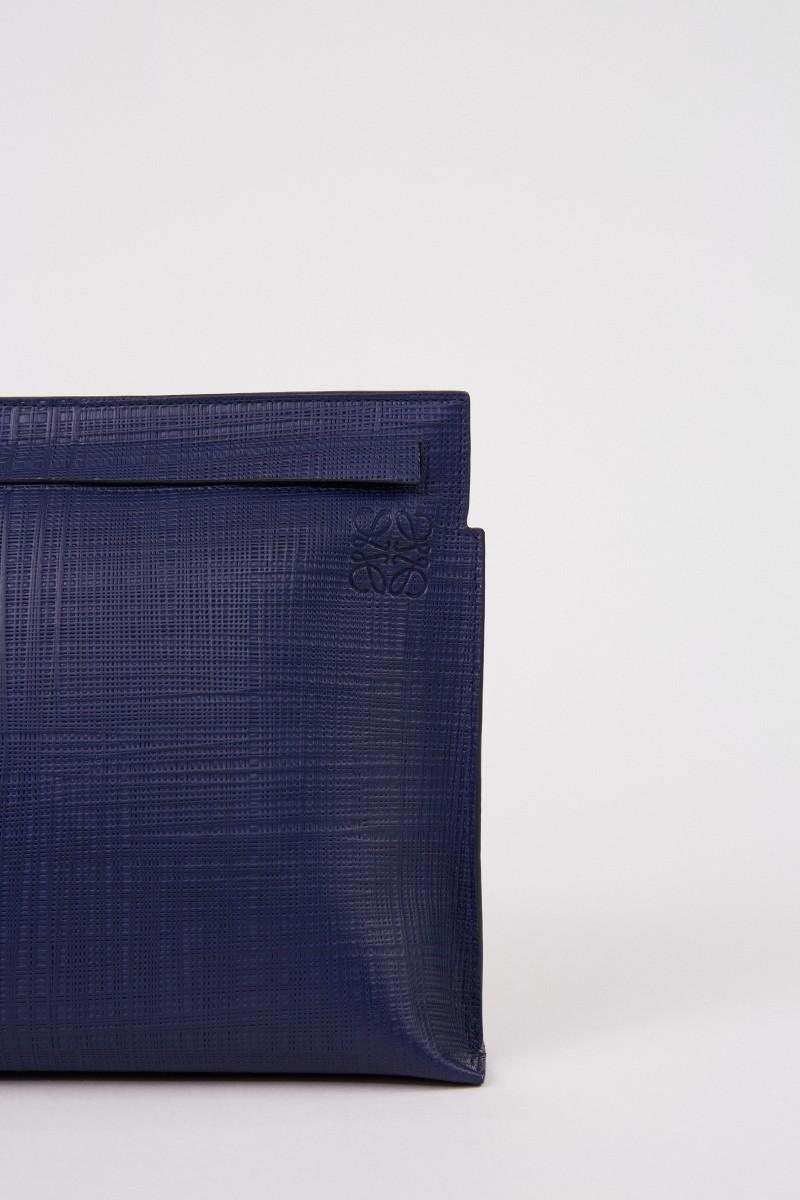 Strukturierte Clutch 'T Pouche Linen' Marineblau