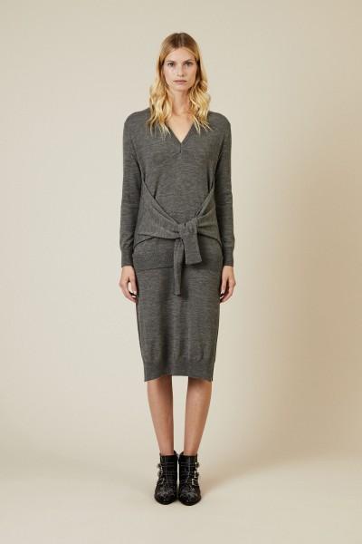 Asymmetrisches Woll-Kleid Grau