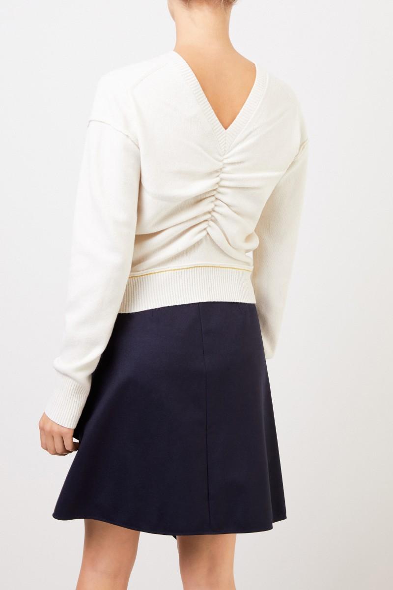 Chloé Woll-Cashmere-Pullover mit V-Neck Soft White