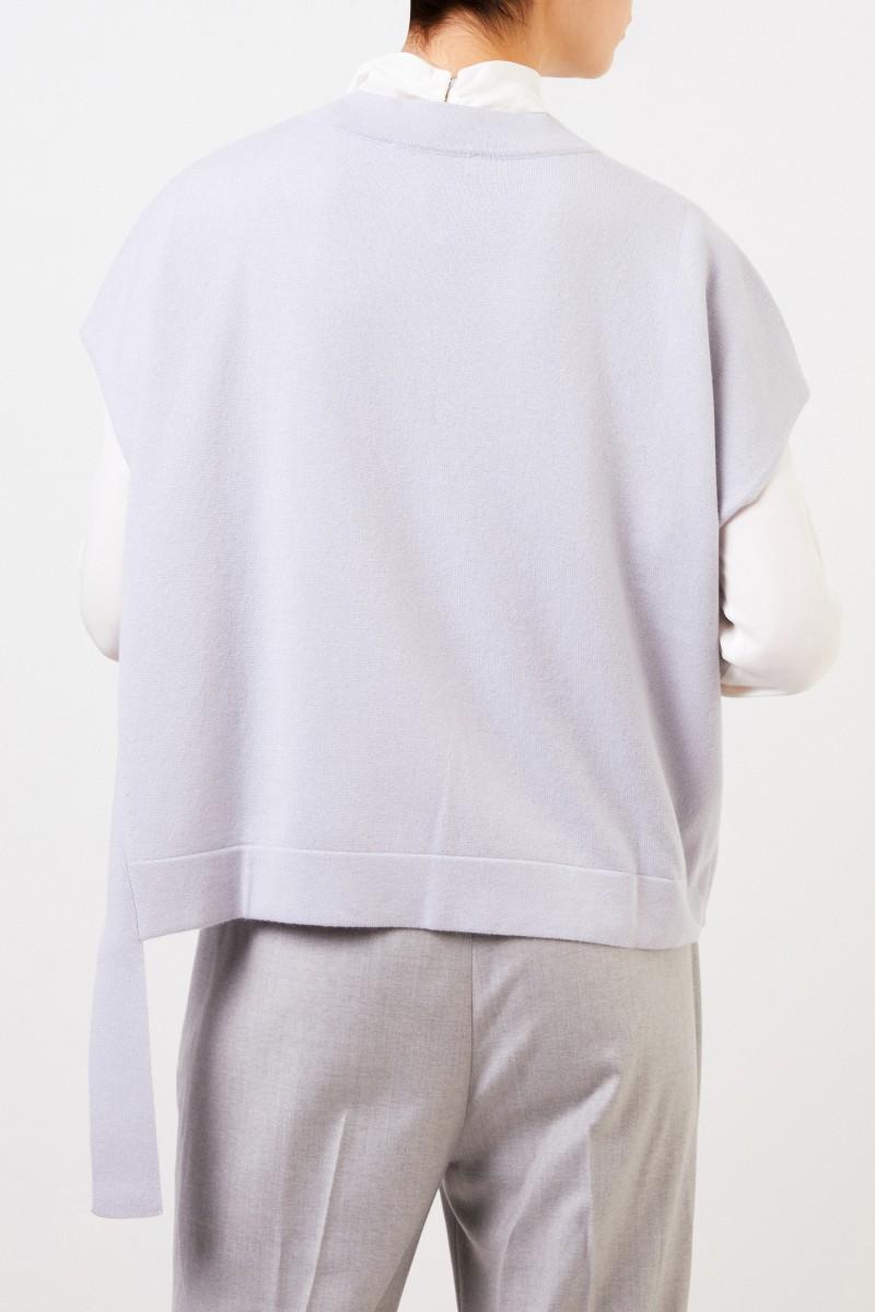 Fabiana Filippi Woll-Seiden-Pullover mit Bindedetail Hellblau/Grau