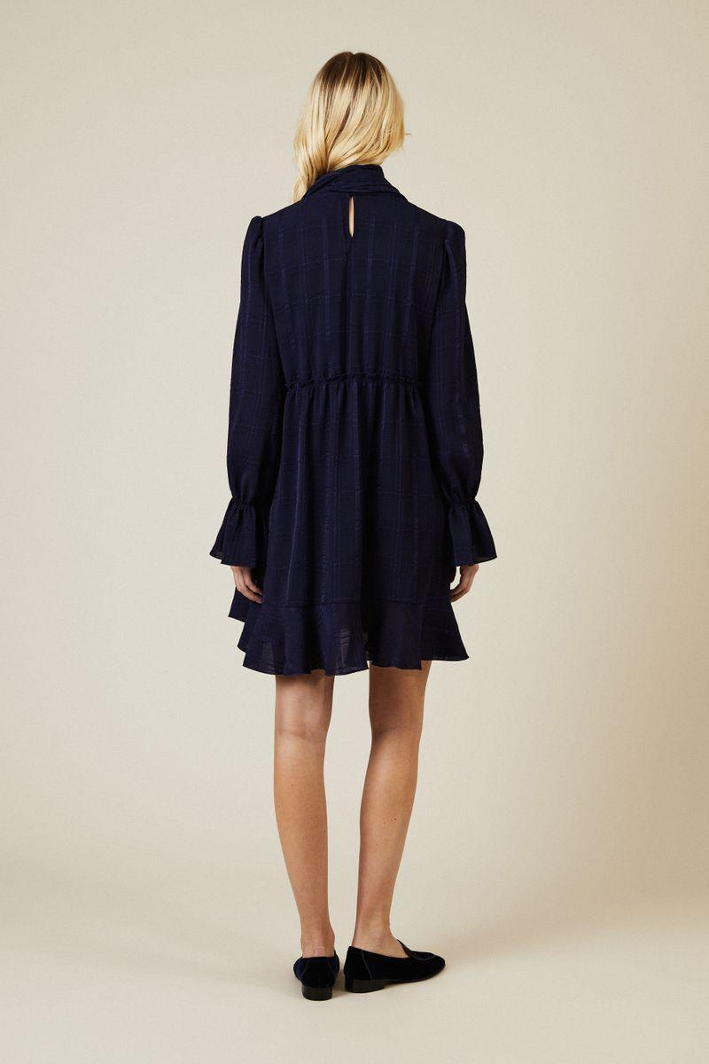 Kleid mit Binde-Detail Marineblau