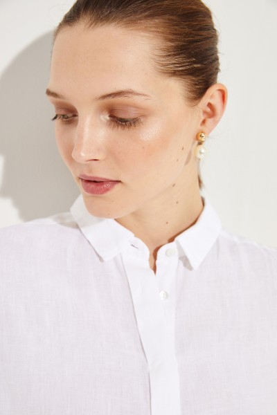 Flared linen blouse White