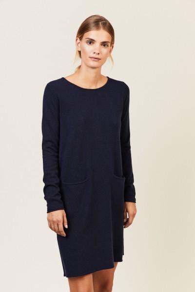 Cashmere-Kleid mit Taschen Blau