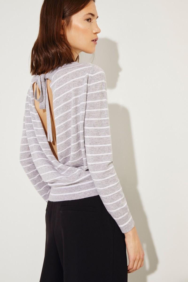 Cashmere-Pullover mit Schleifenverzierung Grau/Weiß