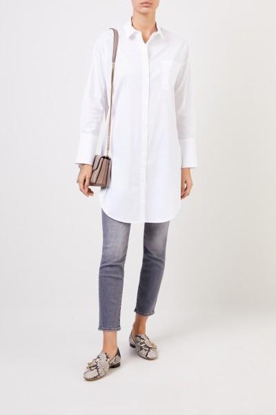 Lange Baumwoll-Bluse Weiß