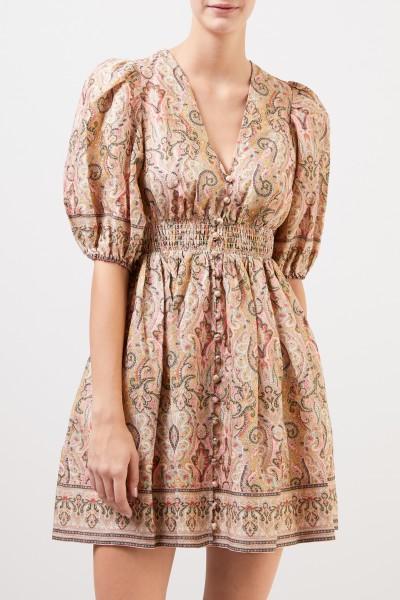 Zimmermann Leinen-Kleid 'Freja' mit Paisleymuster Multi