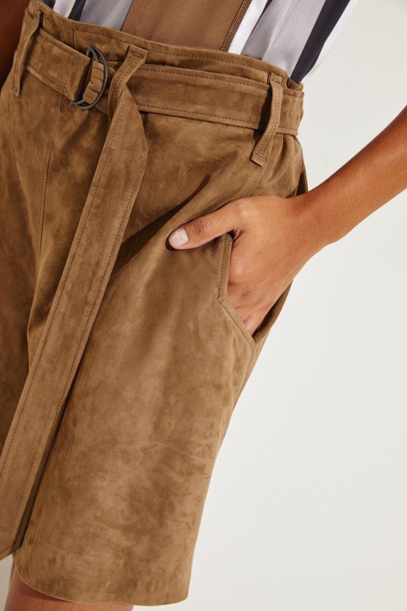 Veloursleder-Shorts Taupe