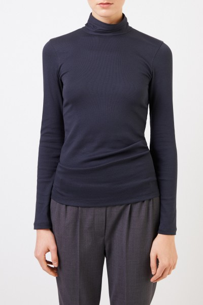 Brunello Cucinelli Ribbed cotton-longsleeve with turtle-neck Blue