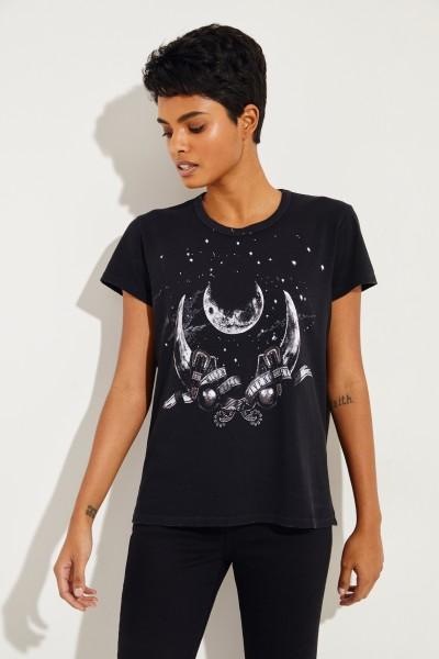 T-Shirt mit Aufdruck Schwarz