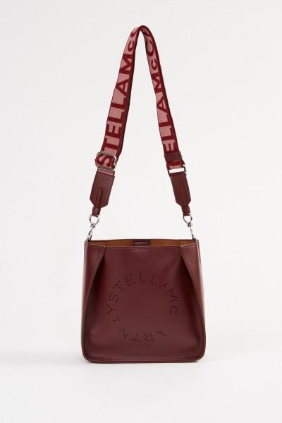 Mini-Schultertasche mit Logo-Riemen Bordeaux