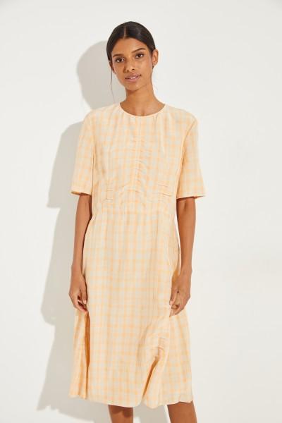 Kurzarm Kleid mit Karomuster Orange/Beige